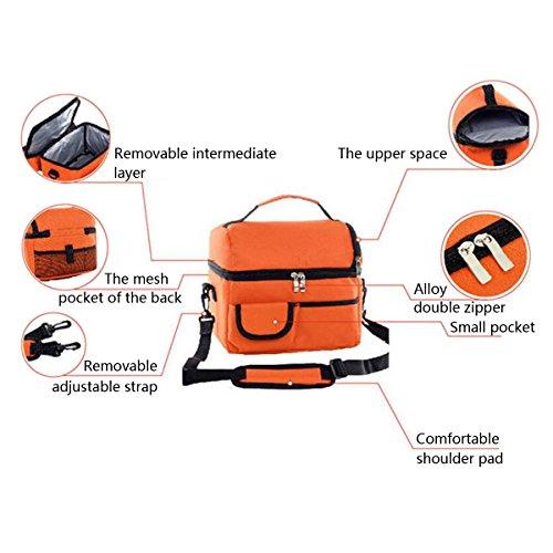 GERMER 8 L Pranzo Al Sacco Di Grande Capacità Per Isolato Fresco Borsa Lunchbox Con Tracolla Regolabile,Bigred Orange