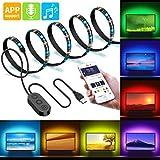 Retroilluminazione a LED per TV, Minger 2 Metri RGB Strip Light c'è Microfono Musica con Controllo APP, Luci Striscia LED con Multicolore, USB Alimentato per HDTV, PC, Specchio, Ufficio, Casa Ecc.