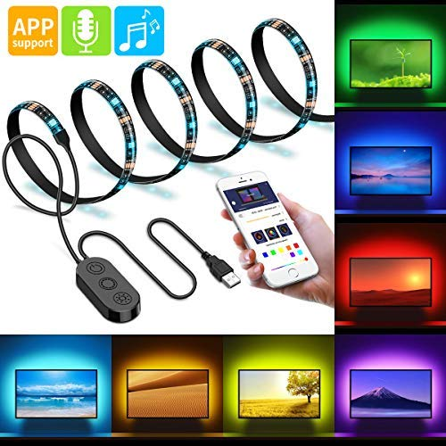 Retroiluminación LED para TV, Minger Tira LED para TV de 2 Metros con Música, Micrófono y Control Mediante APP, LED Strip Lights, Alimentado por USB para HDTV, PC, Espejo, Oficina, Hogar Etc.