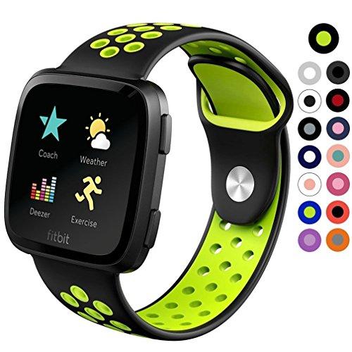HappyTop Sport-Armband aus Silikon, Versa, für Kinder-Armband, Fitbit, klein und groß, unisex, Black+Yellow, Large - Große X Für Gear Uhrenarmbänder S