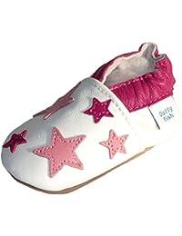 Chaussures bébé souples en cuir pour les filles avec Semelles en Daim - Dotty Fish - Nouveau-Né à 3-4 Ans