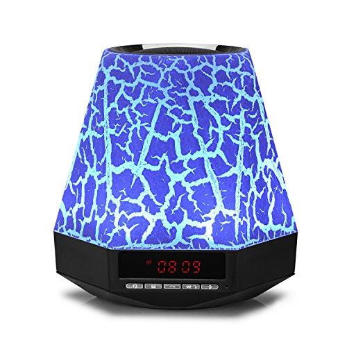 BeneGlow® LED con forma de diamante 7colores luz lámpara Bluetooth altavoz con FM/Reloj/manos libres llamada/TF ranura para tarjeta (no incluido)/entrada auxiliar, etc., Crack, talla única 12.00 volts