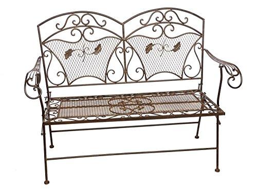 Gartenbank Eisen 25kg im antik Stil klappbar Bank Gartenmöbel braun