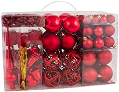 Idea Regalo - Brubaker Set di 101 Accessori Decorativi per L'Albero di Natale - addobbi Natalizie in Color Rosso - Diverse Forme di Palline ed Un Puntale per Albero di Natale