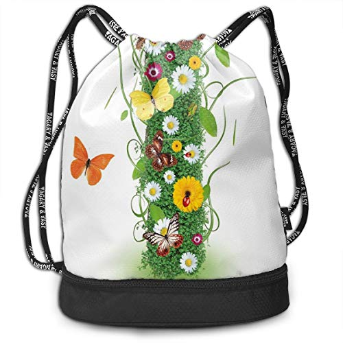 LULABE Printed Drawstring Backpacks Bags,Nature Themed Alphabet Element Green Foliage Daisies Butterflies Capital I,Adjustable String Closure -