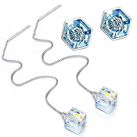 STAR SANDS Zwei Paar Ohrstecker mit Kristallen von Swarovski -Hexagon Aquamarine Blau Ohrstecker + Aurore Boreale Regenbogen Weiß Würfel Ohrring Wire