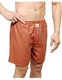 NeskaModa Men's Premium Elasticated Cotton Orange Boxer With 1 Back Pocket-XB37