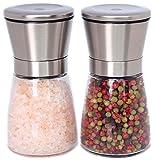 Stilvolle Salz und Pfeffermühle, 2-teiliges Salz und Pfeffermühlen Set, einstellbares Keramikmahlwerk