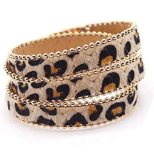 ETHOON Leopard Armband mehrschichtige Pferdehaar Armband Mode Lange erweiterte Armband für Frau Mädchen 2 STK