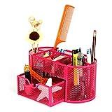 Organiseur de bureau en métal à crayons en maille multifonctionnel porte-stylo rose