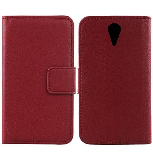Gukas Design Echt Leder Tasche Für HTC Desire 620 620G / 820 Mini Hülle Handy Flip Brieftasche mit Kartenfächer Schutz Protektiv Genuine Premium Case Cover Etui Skin Shell (Dark Rot)