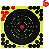 Obiettivi di tiro da 8 pollici Carta adesiva, reattivo giallo brillante Splatter Bullseye Targeting per fucile, pistola, fucile ad aria compressa, softair, pistola a pellet