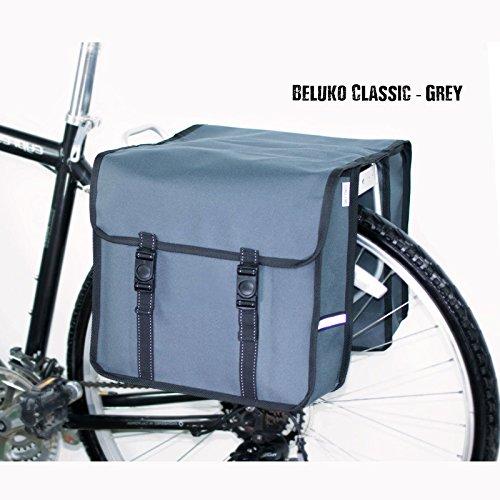 Beluko Classic Double Fahrrad-Taschen, beidseitig, für Damen- und Herrenfahrräder Grau