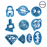 Fatalom Super Hero Batman Superman Dessin animé Avengers Plastique Moules, plastique Impression Cookie Cutter Pâtisserie Tampon à Biscuits Moule à 10 pcs