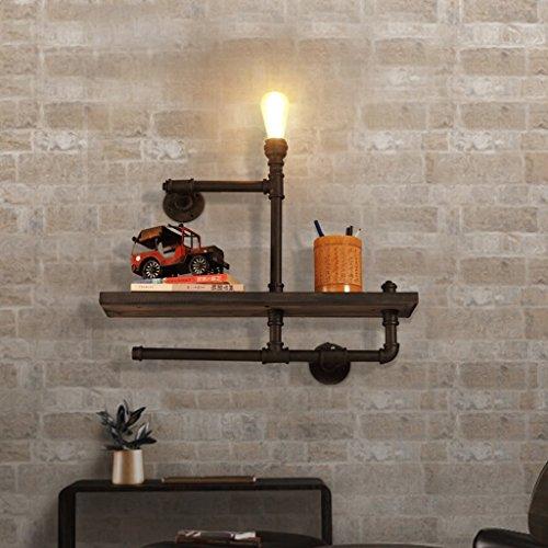 Unbekannt Retro Eisen Kunst einzigen Kopf Wand Lampe Café Korridor kreative Bücherregal Holz Bord Wasser Rohr Wand Lampe -