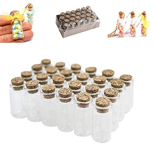 (XCSSKG Mini klar Gläsern Flaschen mit Korkverschluss für Arts & Crafts, Projekte, Dekoration, Partyzubehör (24Stück))