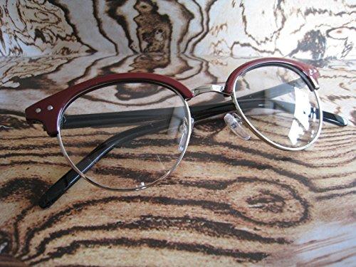 50s rot Clubmaster Retro Vintage Nerd Geek CLEAR LENS Fashion Gläser Frames