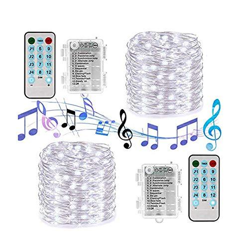 LED Fairy String Lights, 10M 100LED Sound-aktiviertes Musiksynchronisationslicht Lichterketten mit Fernbedienung Timer Twinkle 12 Modi String Licht Xmas Wedding Halloween Party Art Decor Lamps ,White (Tage Von Zwölf Halloween-musik)