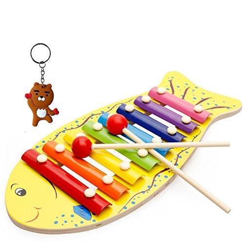Dream Loom Juguetes Musicales del xilófono del bebé, Instrumento Musical para Bebés, Niños Pequeños, Regalo Perfecto para Niños con 8 Notas de Metal y 2 mazos de Madera (Base de Pescado)