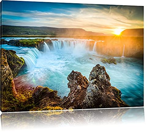 Waterfall in sunset Format: 100x70 cm on canvas, huge XXL Pictures completely framed with stretcher, art print on mural with frame, cheaper than painting or oil painting, no poster or poster ...