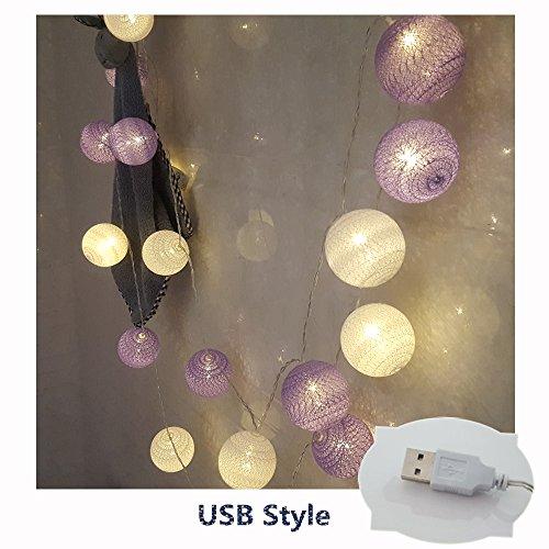 LED Lichterkette mit Baumwollkugeln, Morbuy 6cm Kugeln Mit 20 Bällen 4M USB Deko Licht Festlich Hochzeiten Geburtstag Party Cotton Ball Themen Weihnachten Lichterkette Dekorative (Violett)