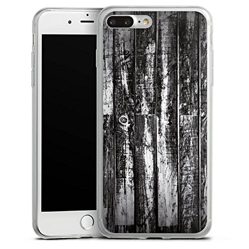 Apple iPhone 8 Plus Slim Case Silikon Hülle Schutzhülle Holz Holzboden schwarz weiß Planken Look Silikon Slim Case transparent