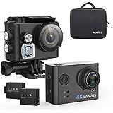 WiMiUS L2 4K Actioncam WIFI Action Cam Camera 1080P Sports Action Kamera HD Wasserdicht Helmkamera Motorrad 2,0 Zoll 170 ° Weitwinkel mit Transporttasche, 2 Akkus, und Zubehör Kit(Schwarz)