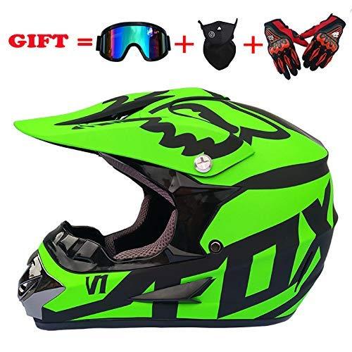 Dufeng Dual Sport Endurance Race Helm Motocross-Helm mit Schutzbrille Handschuhe Maske Helm geeignet for ATV Sport (53-59cm) (Color : Mattgrün, Size : XL) -