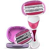 LetsShave Soft Touch 6 Blade Shaving Razor System for Women (Razor Handle, Cartridge, Razor Cap)