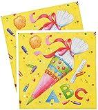 alles-meine.de GmbH 60 Stück _ Servietten -  Schultüten & ABC Buchstaben  - Schulanfang Party / Schuleinführung - Kinderparty Schule - Schultüte Zuckertüte / Mädchen & Jungen -..