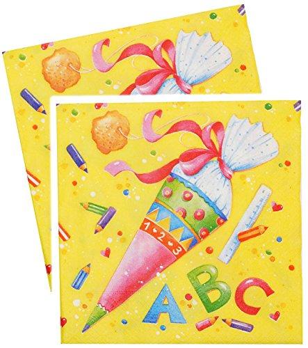 alles-meine.de GmbH 20 Stück _ Servietten -  Schultüten & ABC Buchstaben  - Schulanfang Party / Schuleinführung - Kinderparty Schule - Schultüte Zuckertüte / Mädchen & Jungen -..
