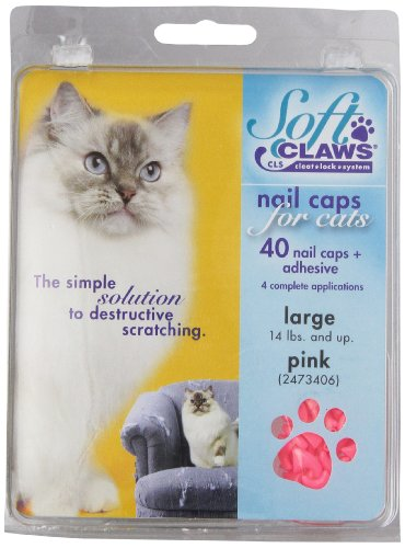 SOFT CLAWS Kit de Protège-Griffes pour Chats Adultes, Large, Rose