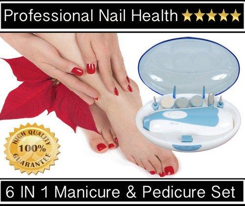 OooP Set elettrico per manicure e pedicure, con custodia e 6punte per unghie di mani e piedi