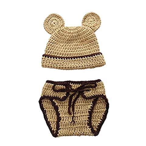 Zhuhaitf 0 to 4 Months Baby Photography Prop Newborn Baby Girls Boys Cotton Crochet Knit Costume Hat Pants Photography Props 3925#