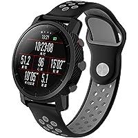 Bainuojia Xiaomi huami 2amazfit Reloj de Pulsera, Silicona Quick Fit Sport Fitness Pulsera Pulsera de Repuesto para 22mm Universal Smart Watch, Negro