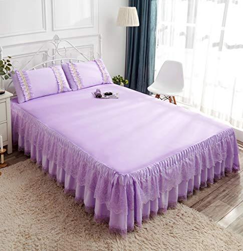 Spitze Bett Rock,Staub Gekräuselt Bett die Röcke Wickeln Um Spitze Bett Rüsche Mit Plattform Fallen Satin Bettdecke-Lila-200x220Cm(79x86Zoll) - King-plattform-bett-lila