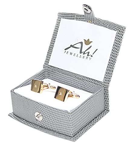Men's GIFTBOXED Gold Filled 18Kt Square Cufflinks UK Guarantee: 3µ/10 years. Stunning Princess Cut LAB Diamond Centre Stone. Bullet Back Closure. Great Quality.