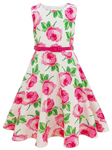 Bonny Billy Mädchen Kleider Vintage Rosa Blumen Festlich Hochzeit Sommer Kinder Kleid mit Gürtel 10-11 Jahre/140-146 Rosa Blumen (Ärmellos)