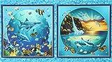 Stoff mit Unterwassermotiv mit Fischen und Delfinen von