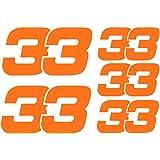 Max Verstappen 33 F1 Formula 1 - Pegatinas de vinilo (2 x 80 mm, 3 x 50 mm), color naranja fluorescente
