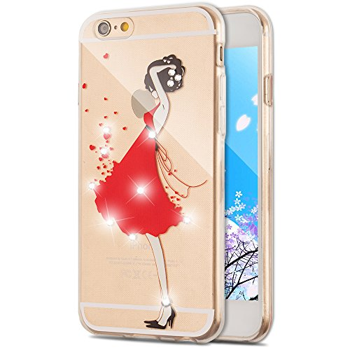 iPhone 7 Case Silicone,iPhone 7 Case TPU,iPhone 7 Case Bling,iPhone 7 Case Bumper,EMAXELERS iPhone 7 4.7 Inch Glitter Bling Soft Flexible TPU Silicone Case Cover for iPhone 7,iPhone 7 Clear Transparent Crystal Cute Cherry Blossoms Pattern Case Bumper Silicone Back Case Cover For iPhone 7 4.7 Inch,Girl Wearing Red Dress with Diamond