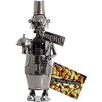 BRUBAKER Porte-bouteille de Vin décoratif - Sculpture en Métal - Idée cadeau - Chef de Cuisine