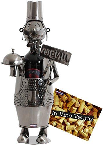 BRUBAKER Weinflaschenhalter Kellner aus Metall - Skulptur - Geschenk mit Geschenkkarte