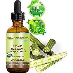 Moringa Aceite Orgánico Certificado. 100% puro/Natural/Sin Diluir. 1fl. oz.-30ml. Para la piel, cabello, labios y uñas care. por Botánico Belleza