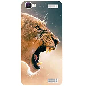 Casotec Angry Lion Pattern Print Design 3D Printed Back Case Cover for Vivo V1 Max