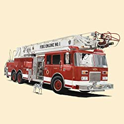 Oopsy daisy Classic Red Fire Engine Stretched Canvas Wall Art by Jill Pabich, 18 by 18-Inch
