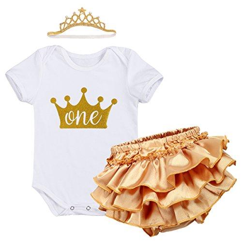 IWEMEK Baby Mädchen 1. Geburtstag Tutu Kleid Set Romper + Gold Pumphose/Bloomers + Krone Stirnband Geschenk Säuglings Prinzessin 3 Stück Outfits Verkleidung Fotoshooting Kostüm Weiß 12-18 Monate