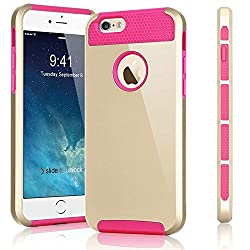 Febelle Shockproof Hybrid Rugged Rubber Protective Cover Case For Iphone55sse Gold+rose