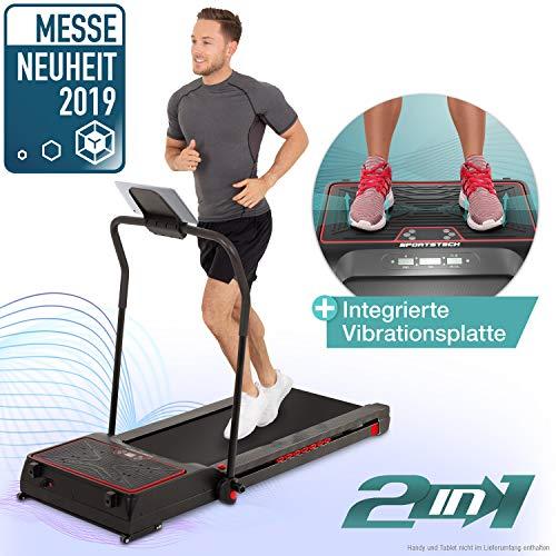 Sportstech innovatives 2in1 Laufband mit Vibrationsplatte + Fitness App, Selbstschmiersystem, ultimative Fettverbrennung, Cardio & Muskelaufbau Heimtrainer VPX600 - Ultra kompakt klappbar für Zuhause