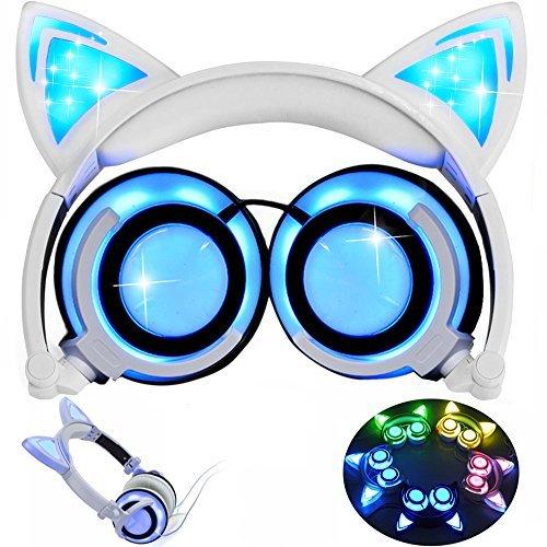 Kinder Kopfhörer mit Katzenohr, AMENON verdrahtet On-Ear faltbare LED Gaming Blinklicht USB Ladegerät Kopfhörer Headset für Kinder kompatibel mit IOS Telefon und Android Phone Laptop